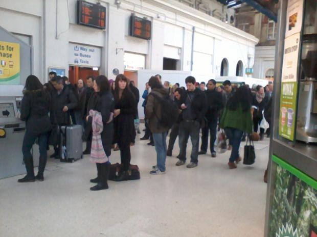 Queues at ticket machines in Brighton Station – picture by Liam Nicholes