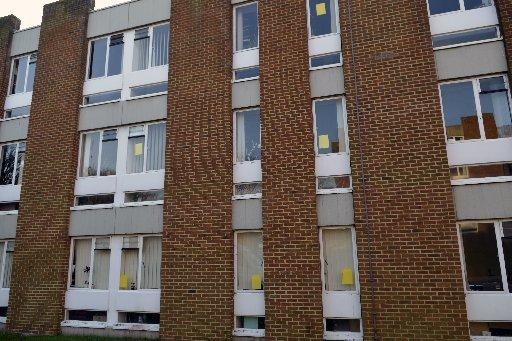 Yellow posters in the windows of University of Sussex buildings show support for the occupation