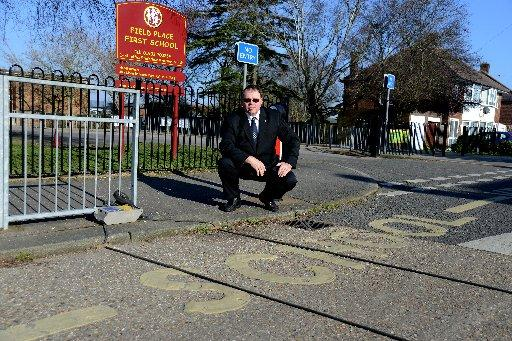 Coun Robin Rogers outside Field Place First School in Worthing
