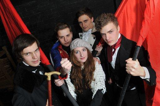 The cast of BHASVIC's Les Misérables Jonathan Atkinson, Ben Drinkwater, Maia Orme, Laurence Bown and Dan Bravo