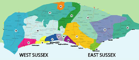 Sussex Parliamentary constituencies showing the percentage of children living in poverty