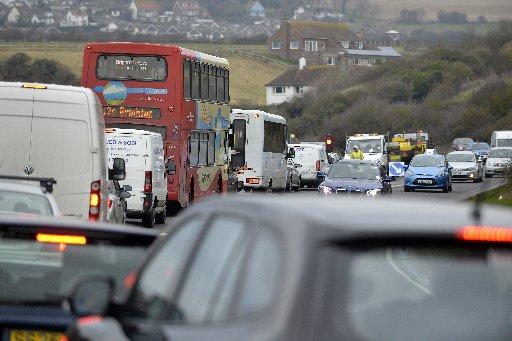 Traffic backed up on the A259 between Newhaven and Seaford