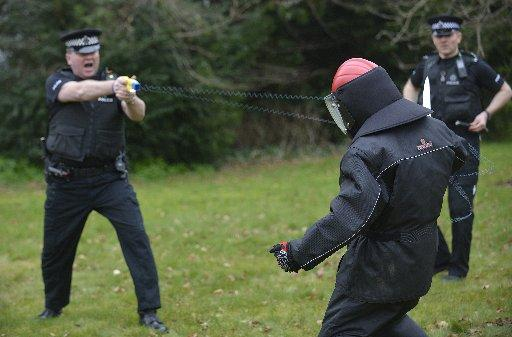 Sussex Police officers taking part in Taser training