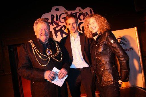 City mayor Bill Randall with Brighton Fringe's Julian Caddy and Heather James