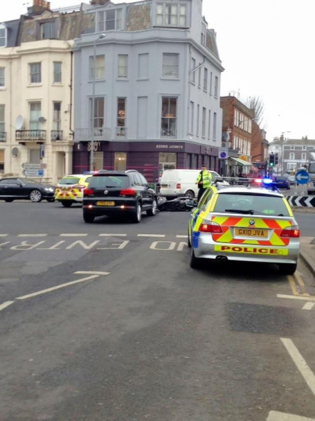 Motorcyclist in hospital after crash at notorious Seven Dials junction