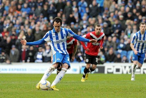 David scores from the spot against Huddersfield