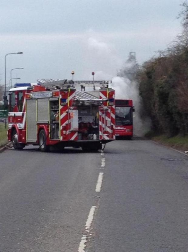 Early pictures of the bus on fire near Pyecombe