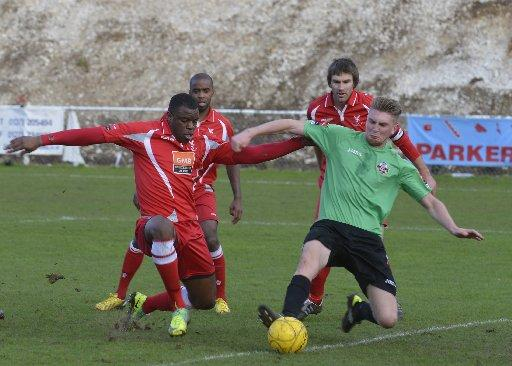 Lewes (green kit) have slipped down the table