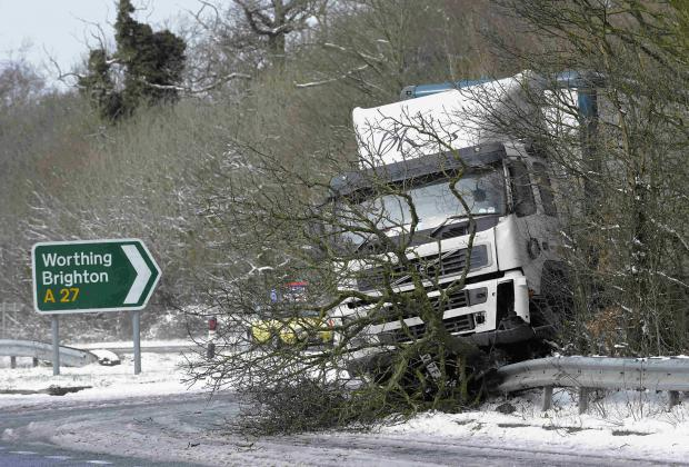 A HGV smashed into central reservation and barrier on A27 at Poling near Arundel