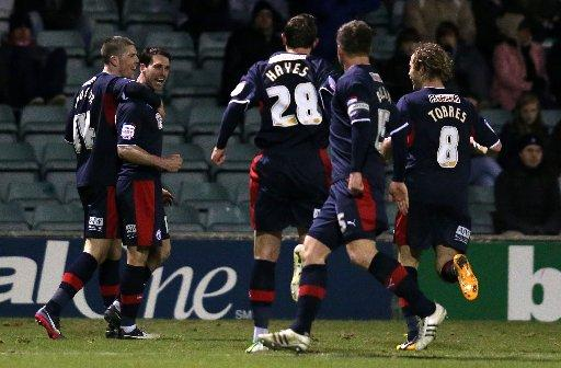 Matt Sparrow celebrates his goal