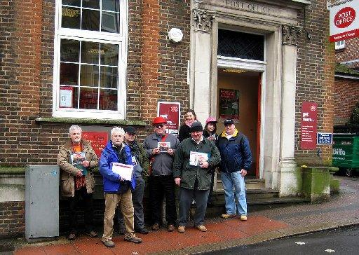 Campaigners outside threatened Uckfield Post Office – Picture by Ron Hill