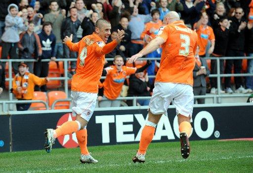 Kevin Phillips celebrates after scoring for Blackpool against Albion last season