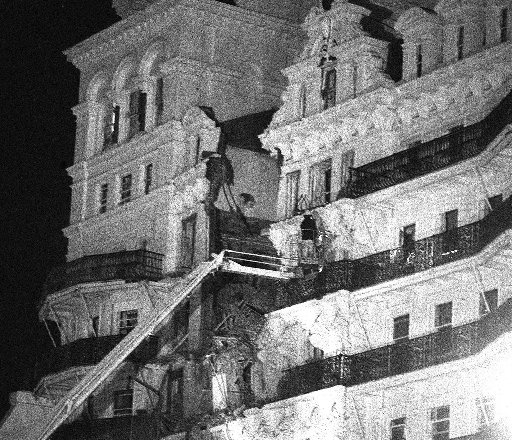The Grand Hotel on the night of the bombing in 1984.
