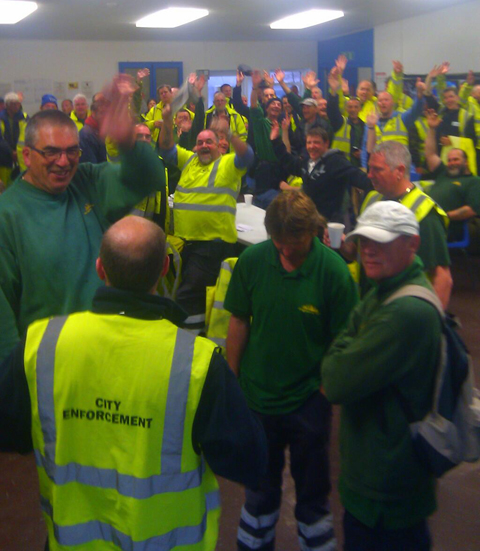 Council workers at the Hollingdean depot this morning