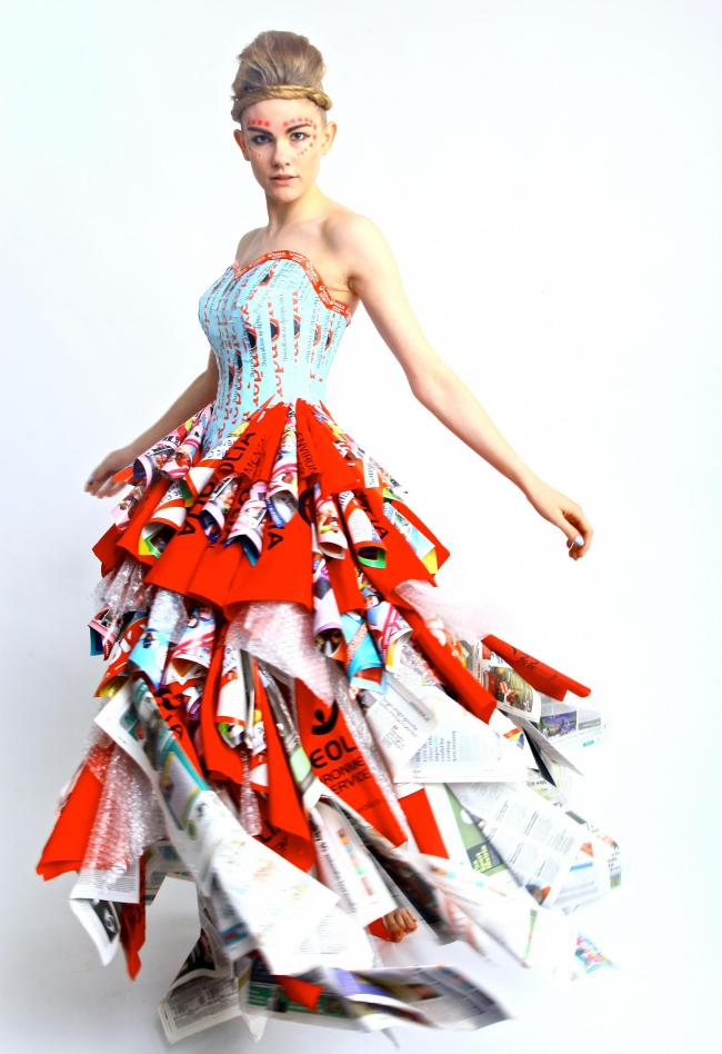 A glamourous, rubbish dress on display at Brighton Fashion Week