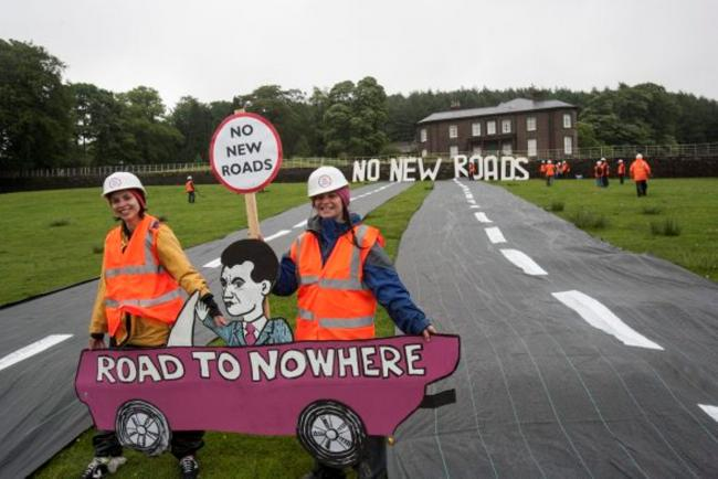 Campaigners build 50m dual-carriageway in George Osborne's back garden