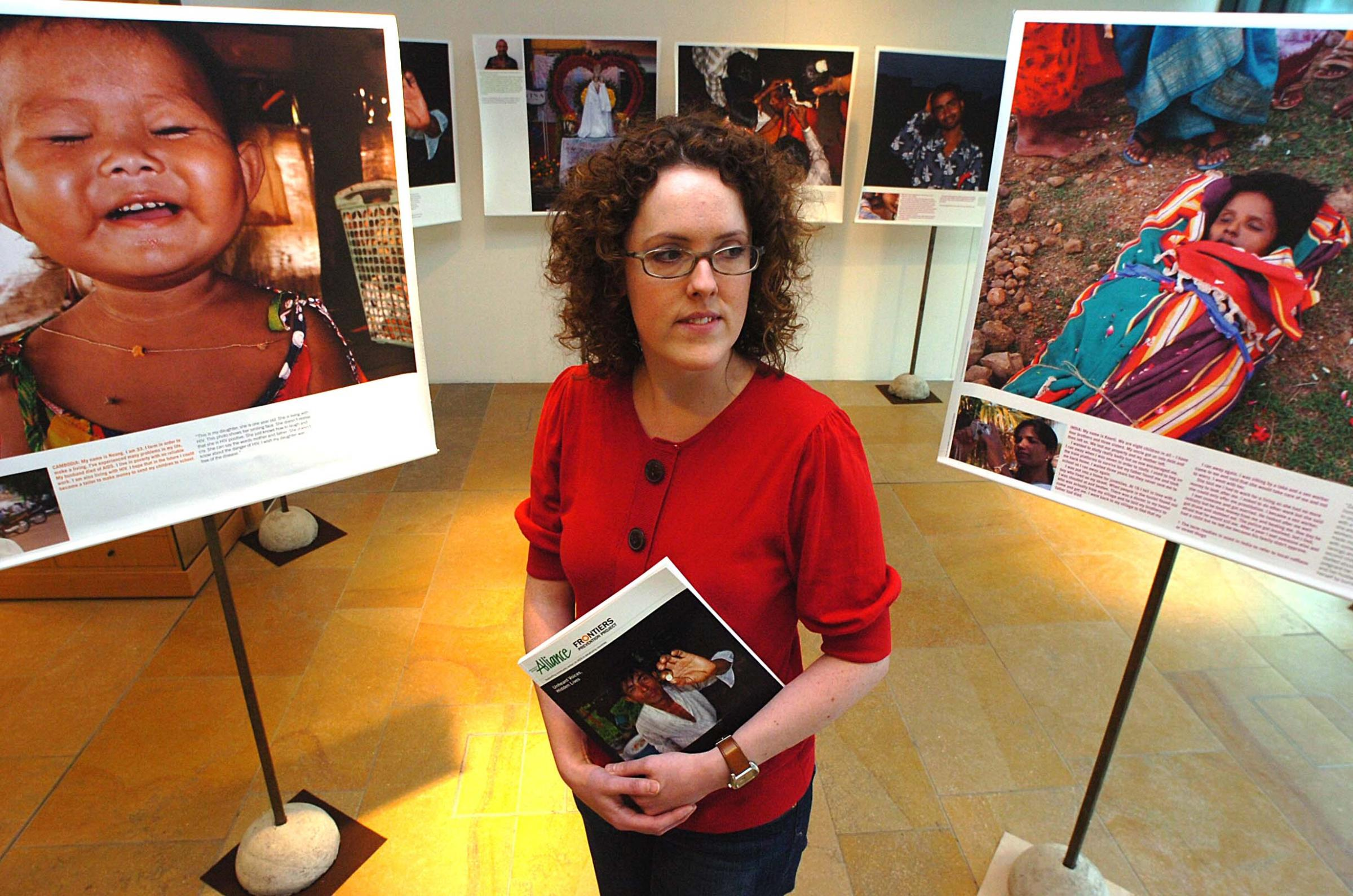 Rhian Evans of International HIV/Aids Alliance at an Aids exhibition at Jubilee Library, Brighton