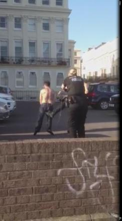 Exclusive video: Sussex Police launch investigation as man is kicked after being tasered