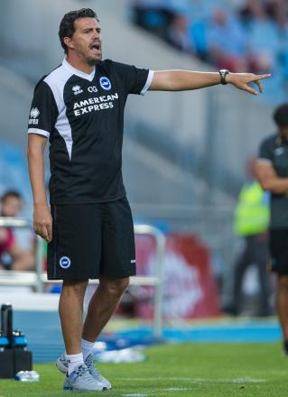 Oscar Garcia makes a point at Getafe last night. Pic by Paul Hazlewood