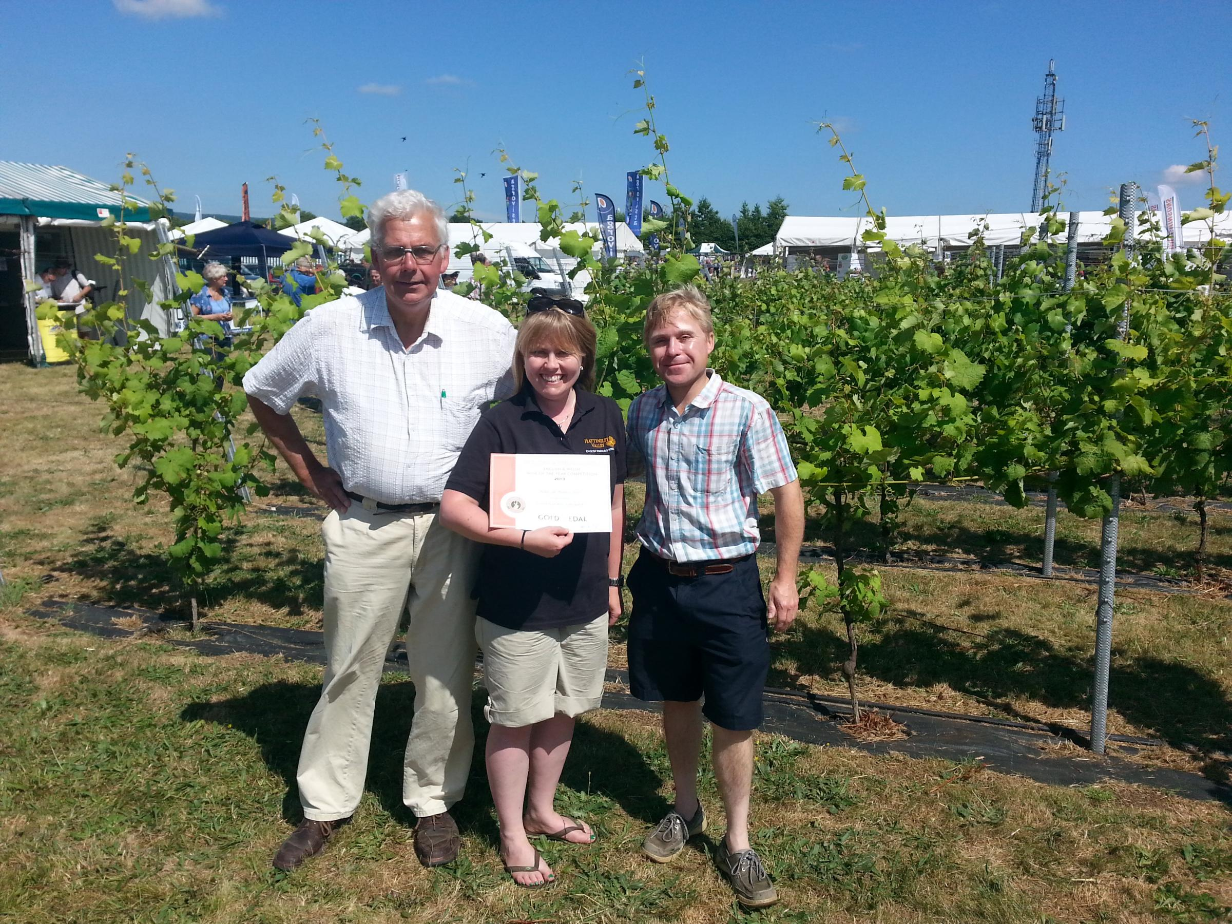 Emma Rice, winemaker, with Howard and Hugo Corney