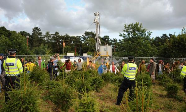 Protesters and police at Balcombe