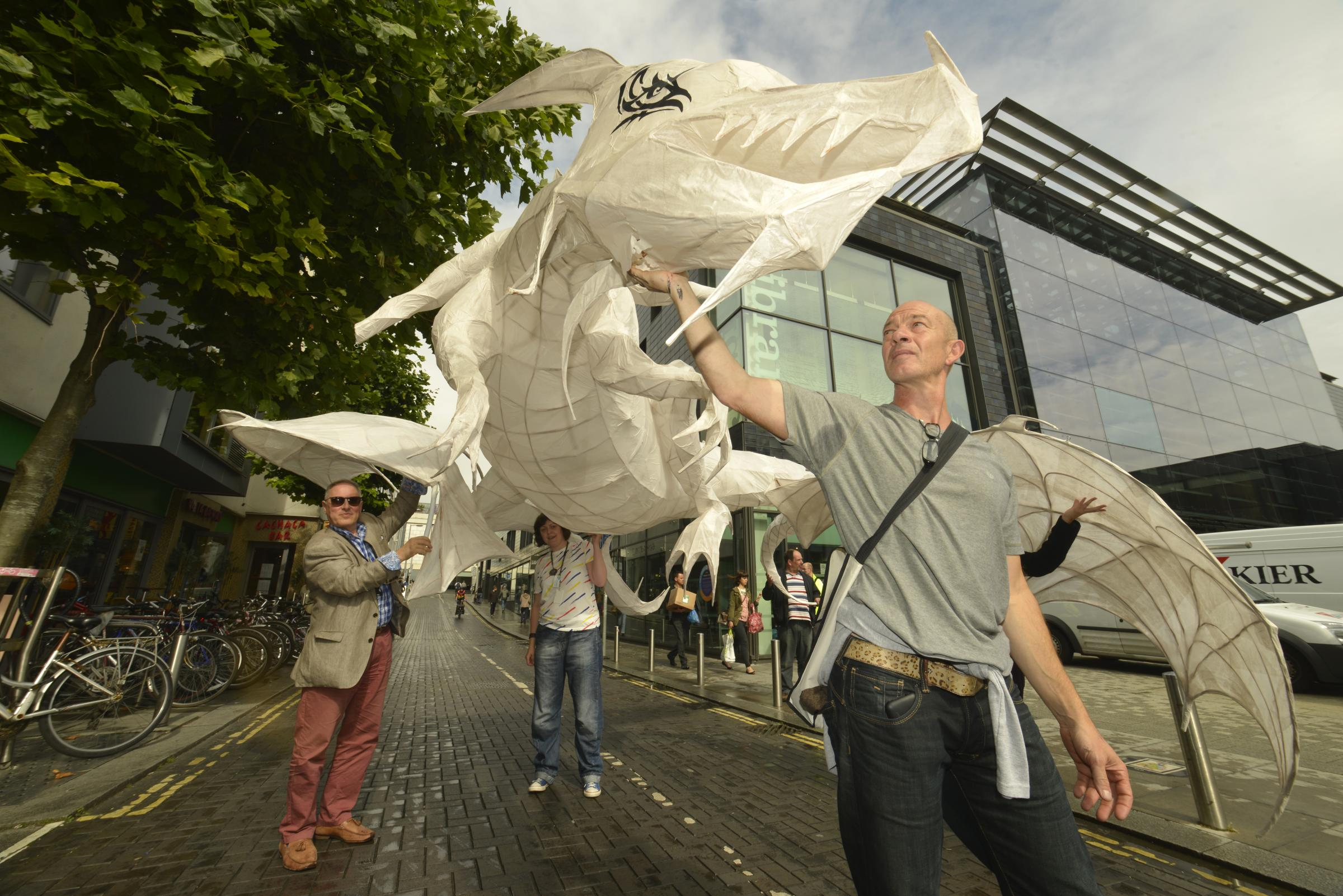 Holy smoke! Giant dragon greets readers at Brighton library event