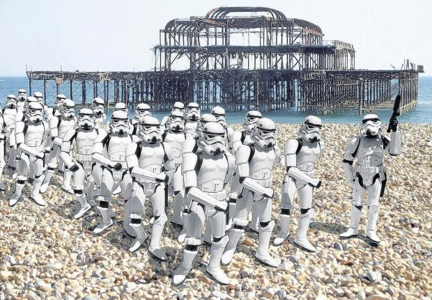 Stormtroopers land on Brighton beach - for Star Wars art exhibition
