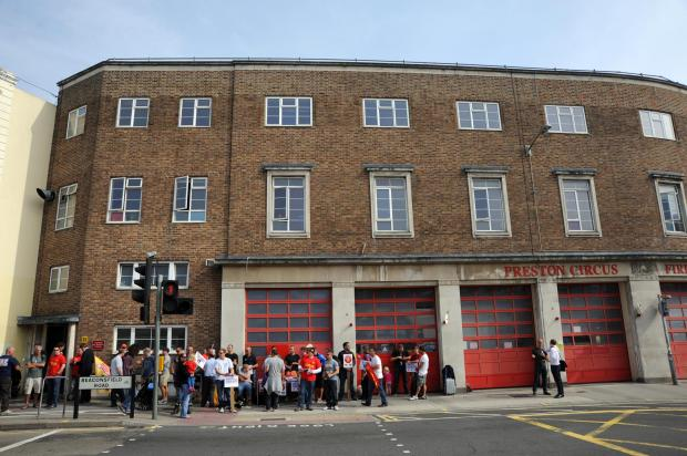 The Argus: FBU members outside Preston Circus fire station during recent strikes