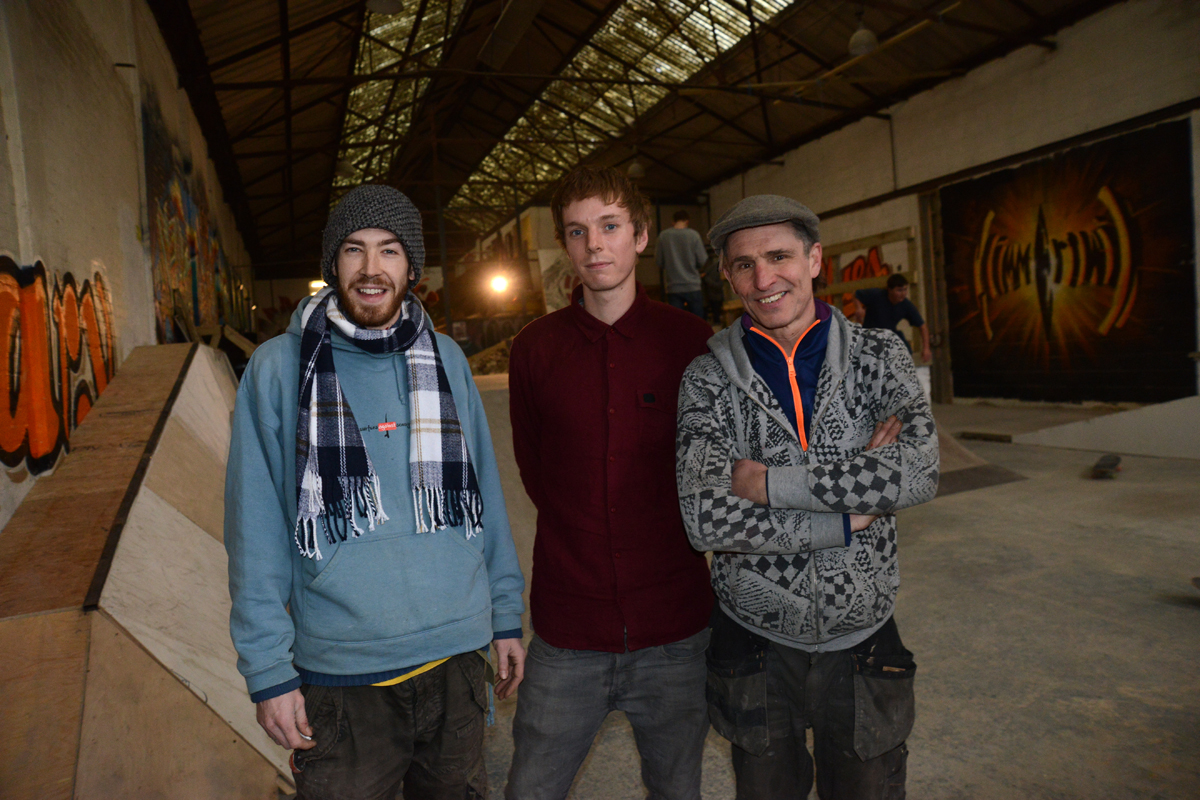 Jack Harris, Ollie Swayne and Ian Freeston at the Skatehouse