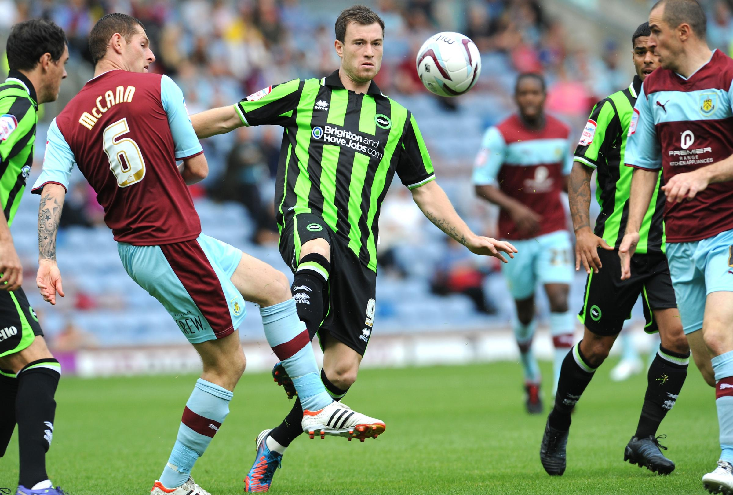Ashley Barnes in action at Turf Moor last season. It is set to become his new home ground
