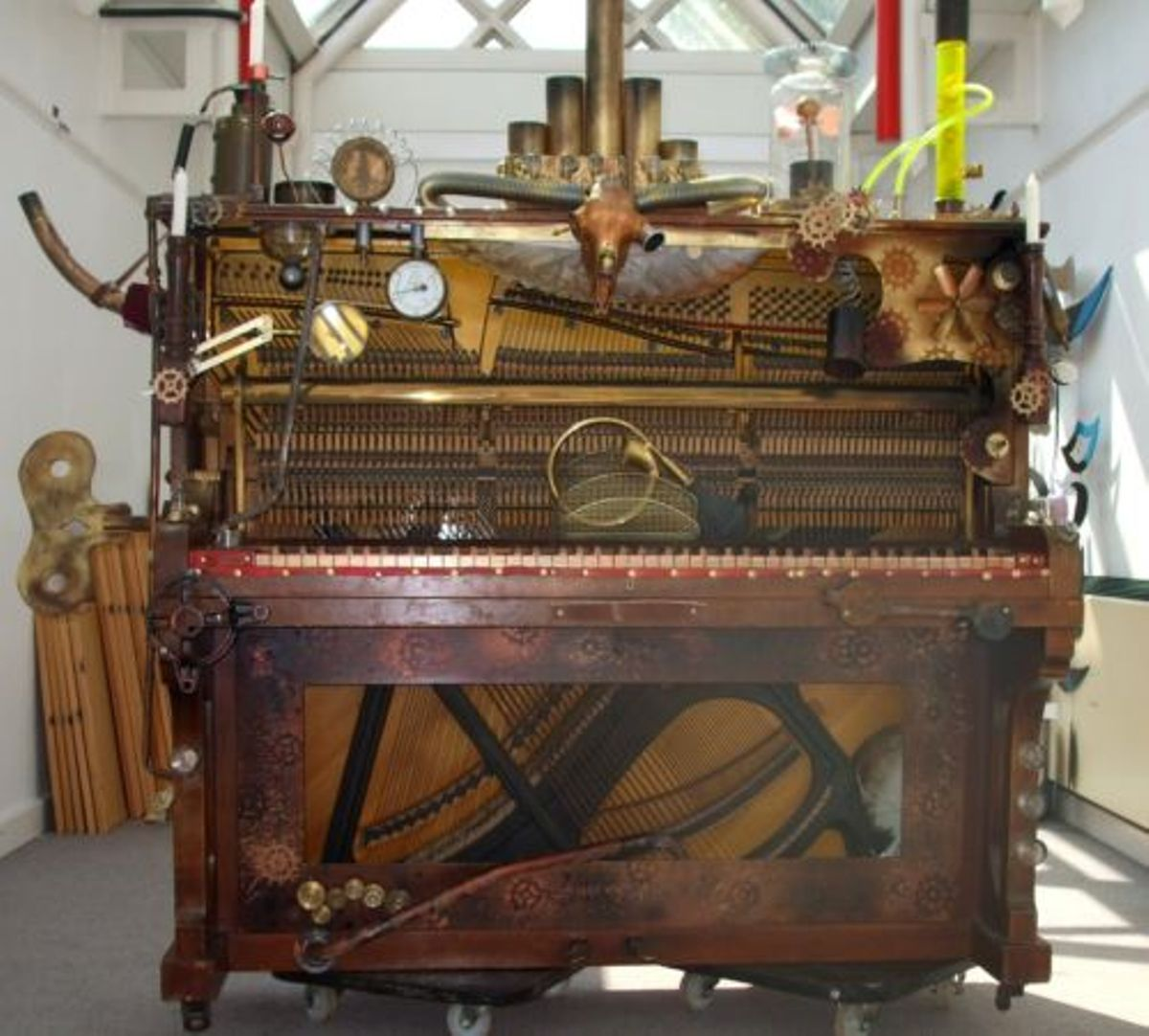Mumford and Sons' steampunk piano modified in Lewes on sale