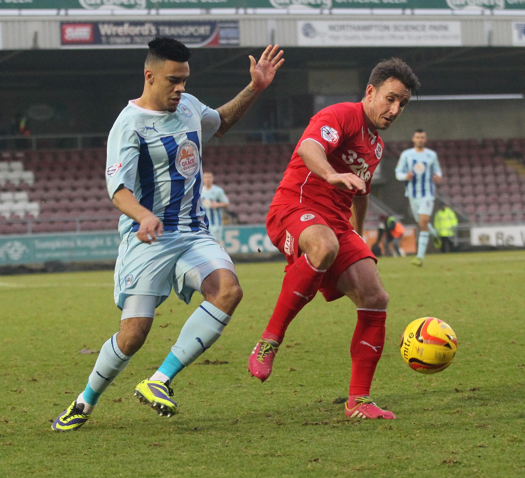 The man was detained during the Crawley Town versus Coventry City game in Northampton