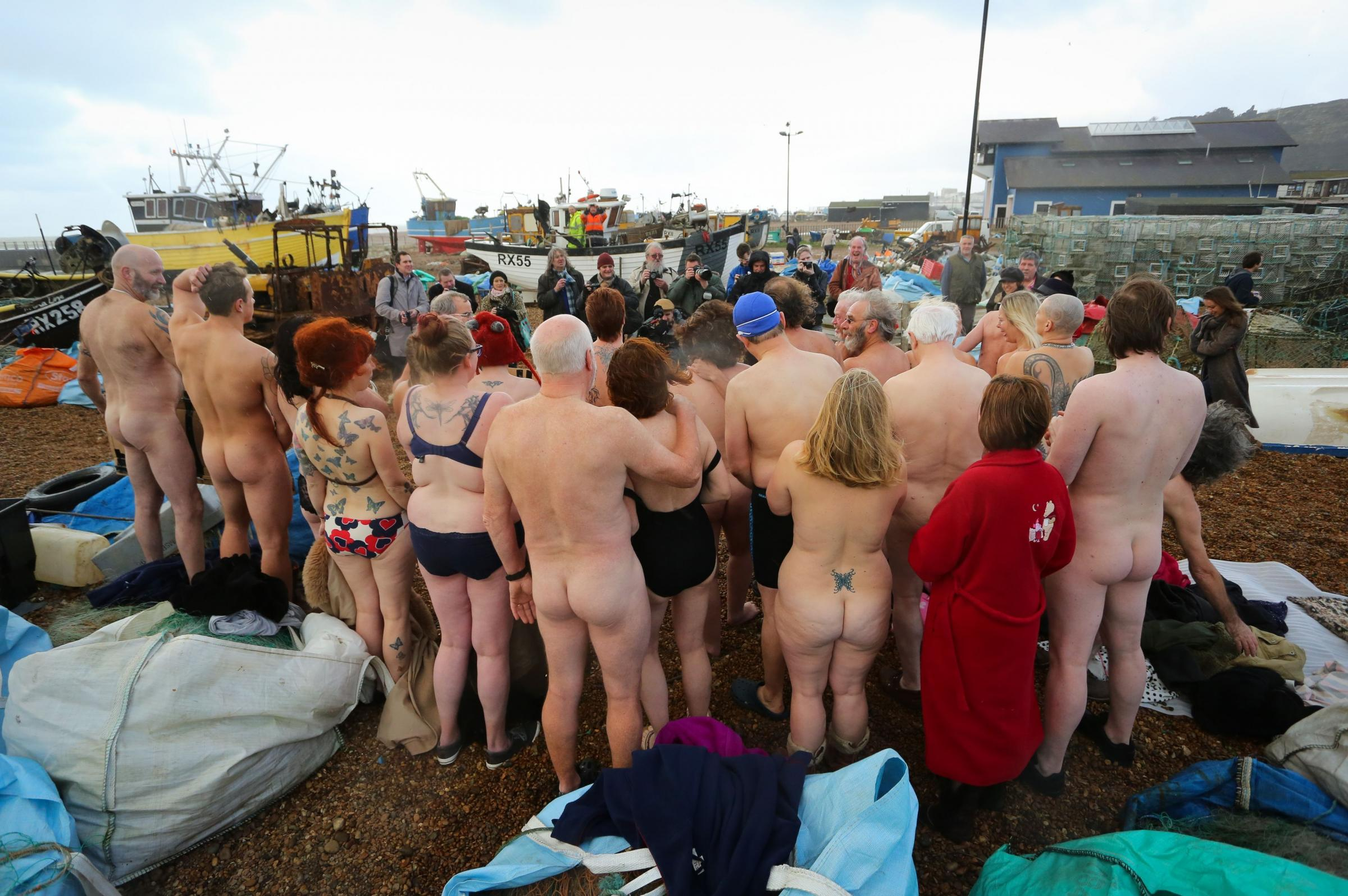 Nudes gather in Hastings in a bid to attract top photographer to the town