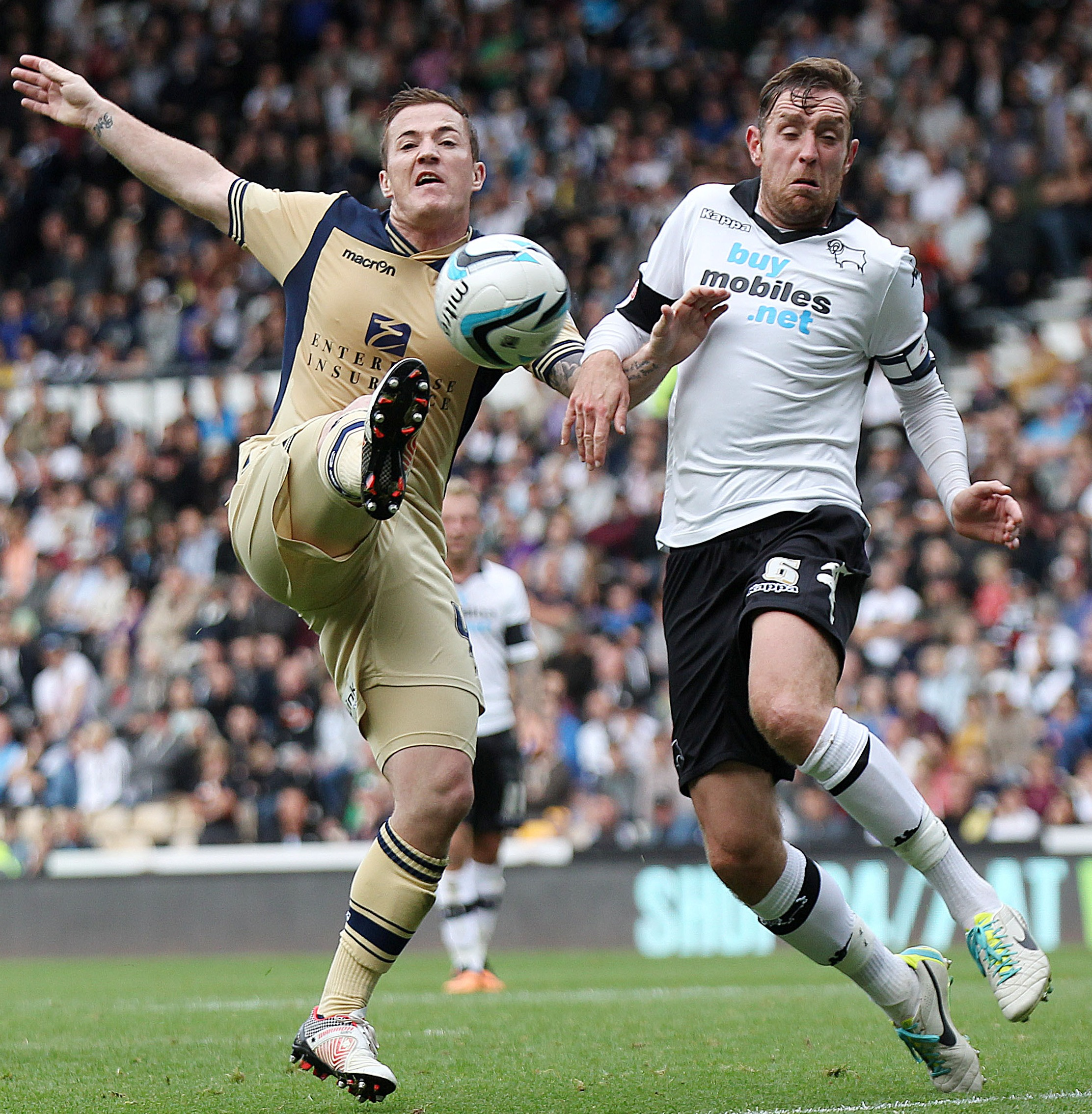 Richard Keogh, right of picture, could return for Derby