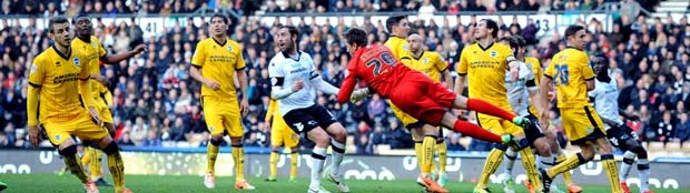 Tomasz Kuszczak punches clear in Albion's unlucky 1-0 defeat at Derby