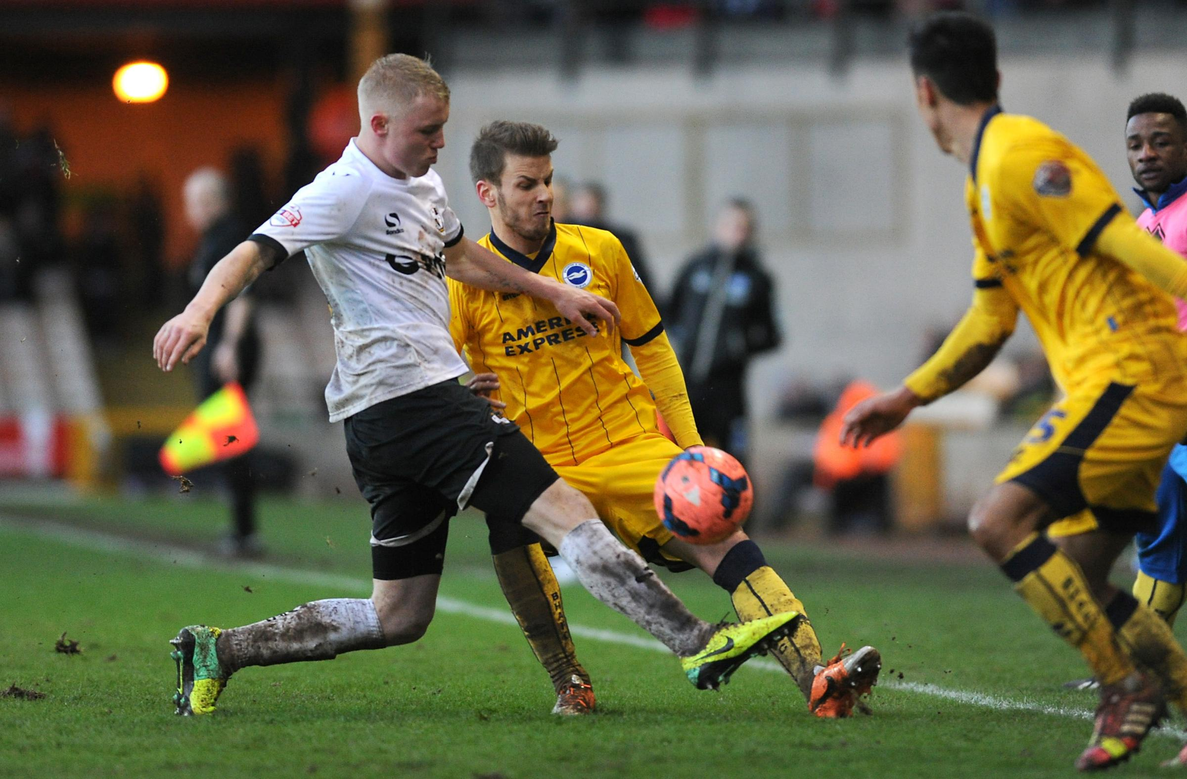 Andrea Orlandi in the thick of the action against Port Vale