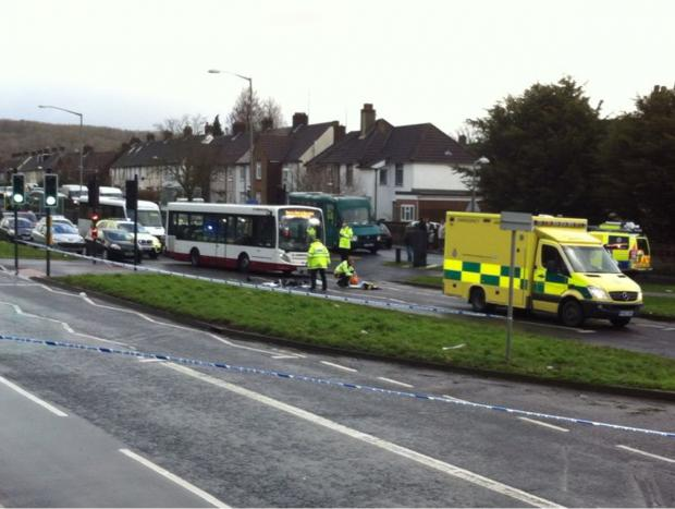 The Argus: The accident on Lewes Road. Picture by Sam Stephenson.