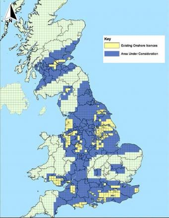 A map showing drilling licences across the UK