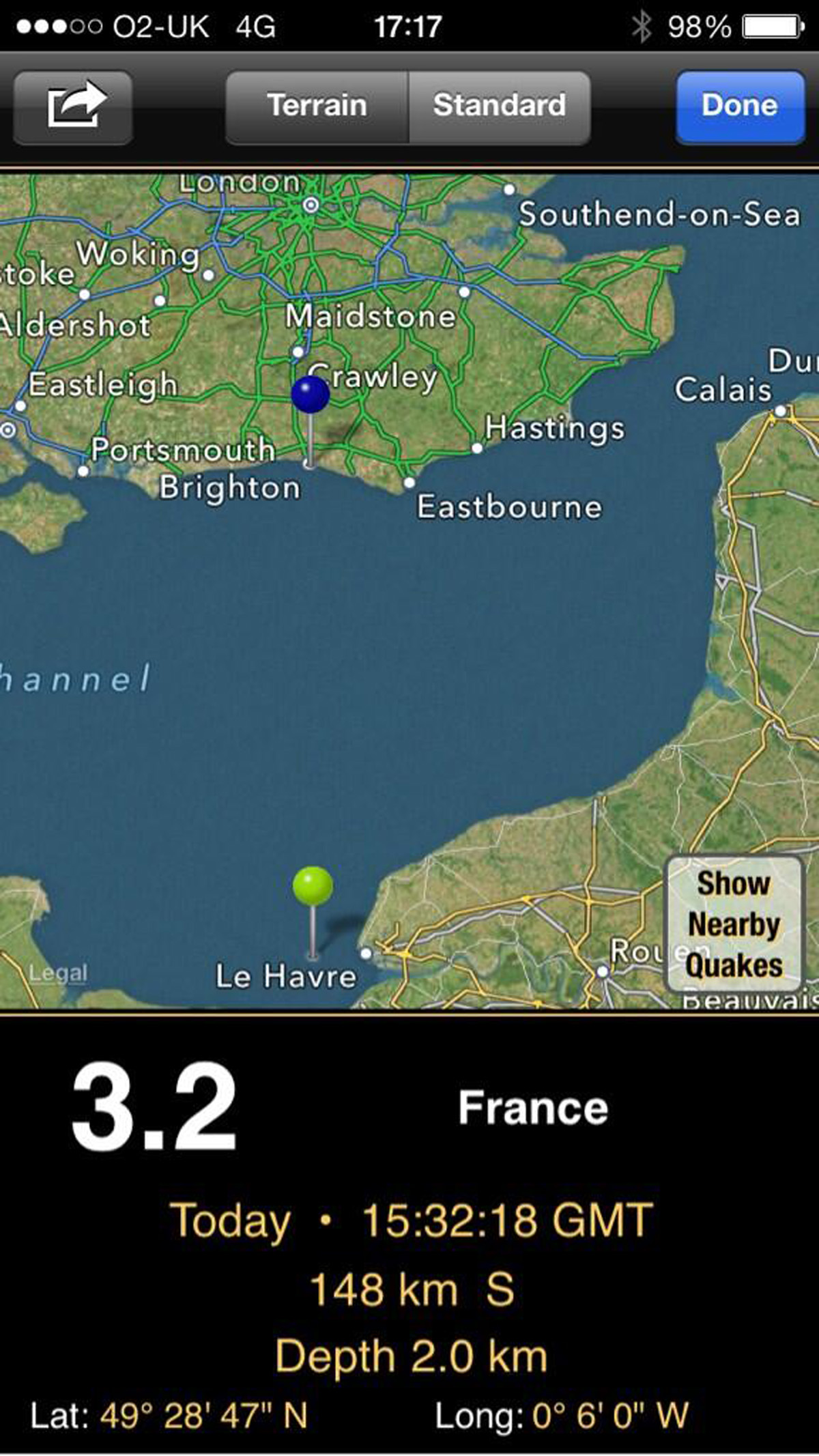 The Le Havre quake as recorded by the US Geographical Survey's Quakewatch app