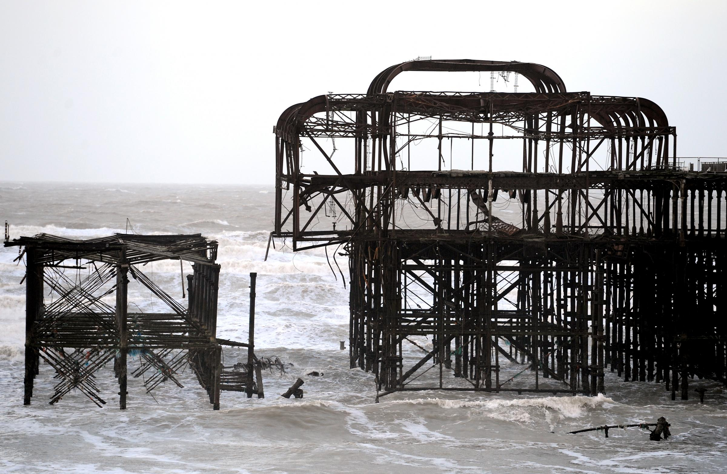 Large chunk of Brighton's West Pier falls victim to the sea