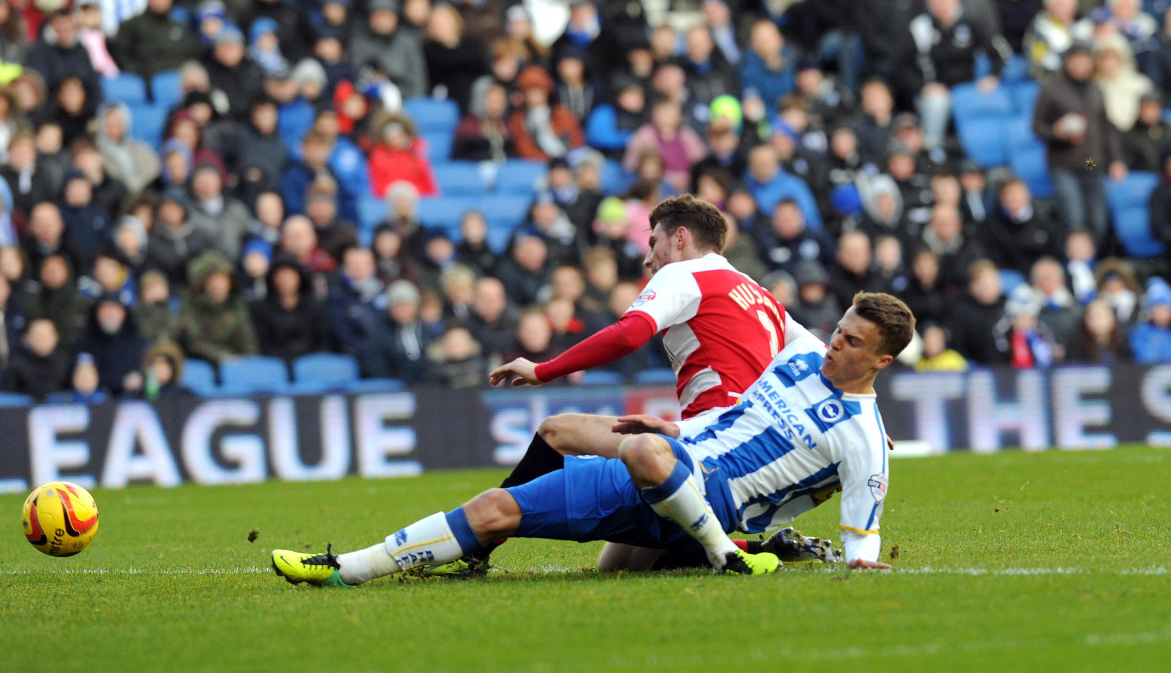 Solly March in action for Albion at the Amex today. Picture by Simon Dack