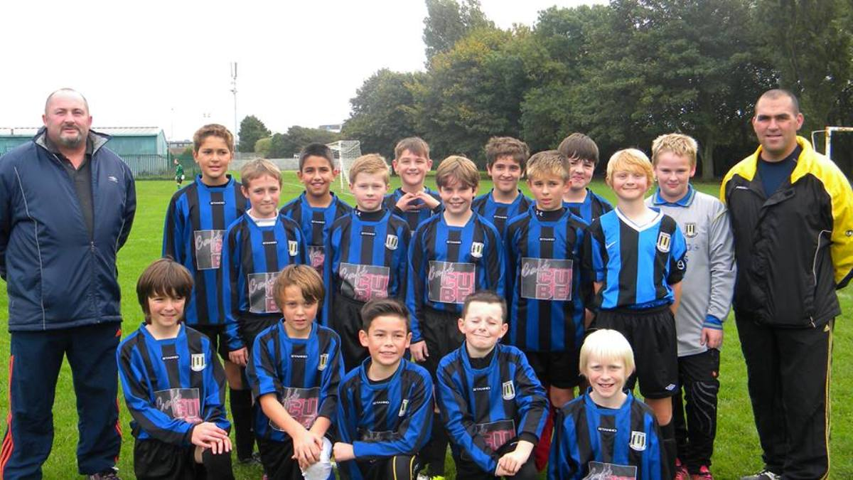 Brian Whiteside, manager of the Southwick Rangers Under-12s, far right
