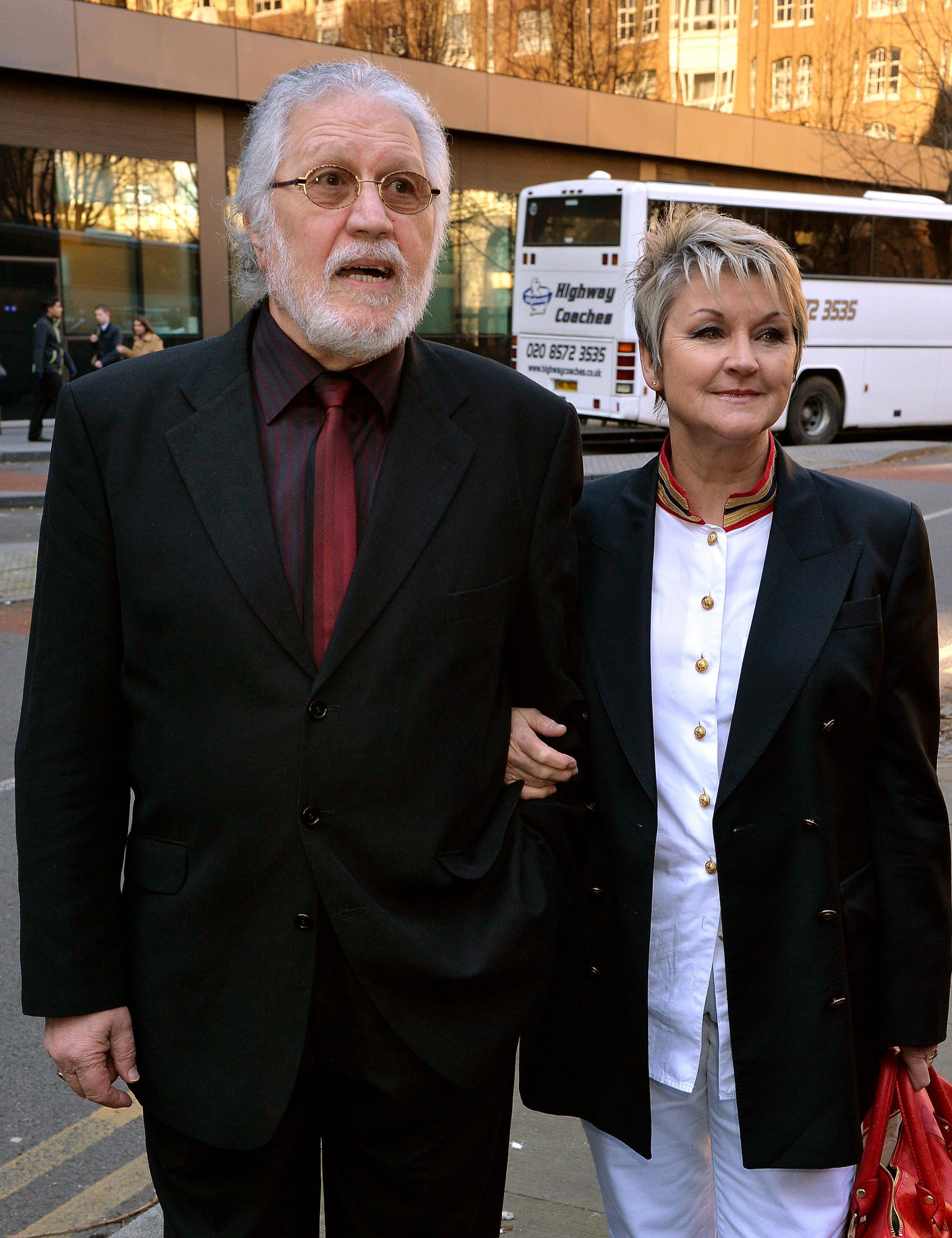 Dave Lee Travis arrives with his wife Marianne, at Southwark Crown Court in south London (Pic: John Stillwell/PA Wire)