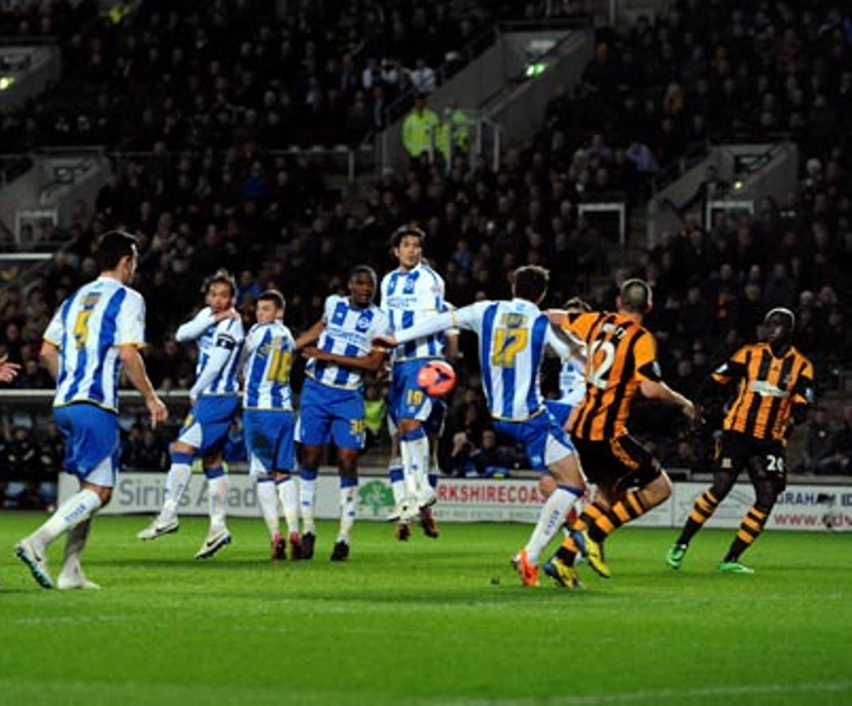Matty Fryatt (No.12) gets goalside of Stephen Ward - but was he offside?