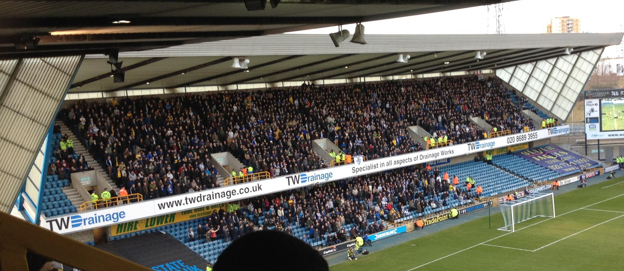 Albion fans at Millwall today