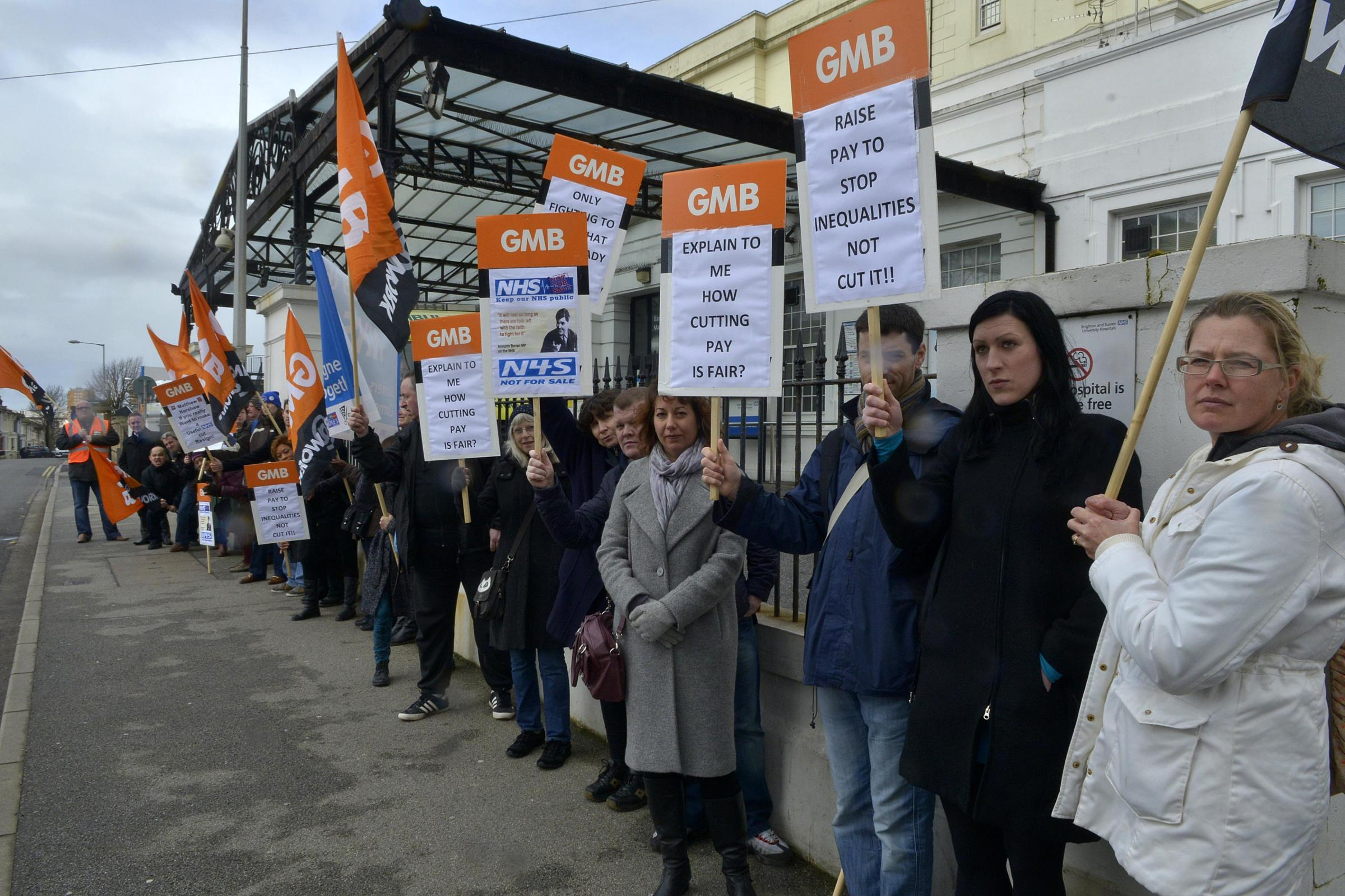 Protesters want action on the widening pay gap at hospital
