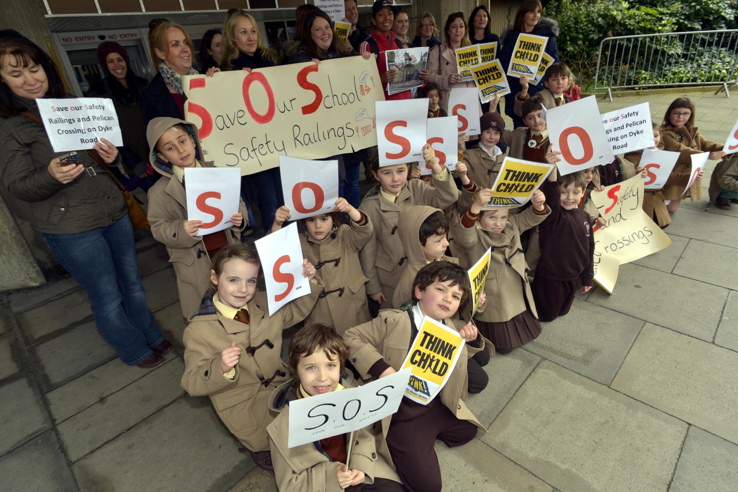 Cross pupils stage railings protest outside Hove Town Hall