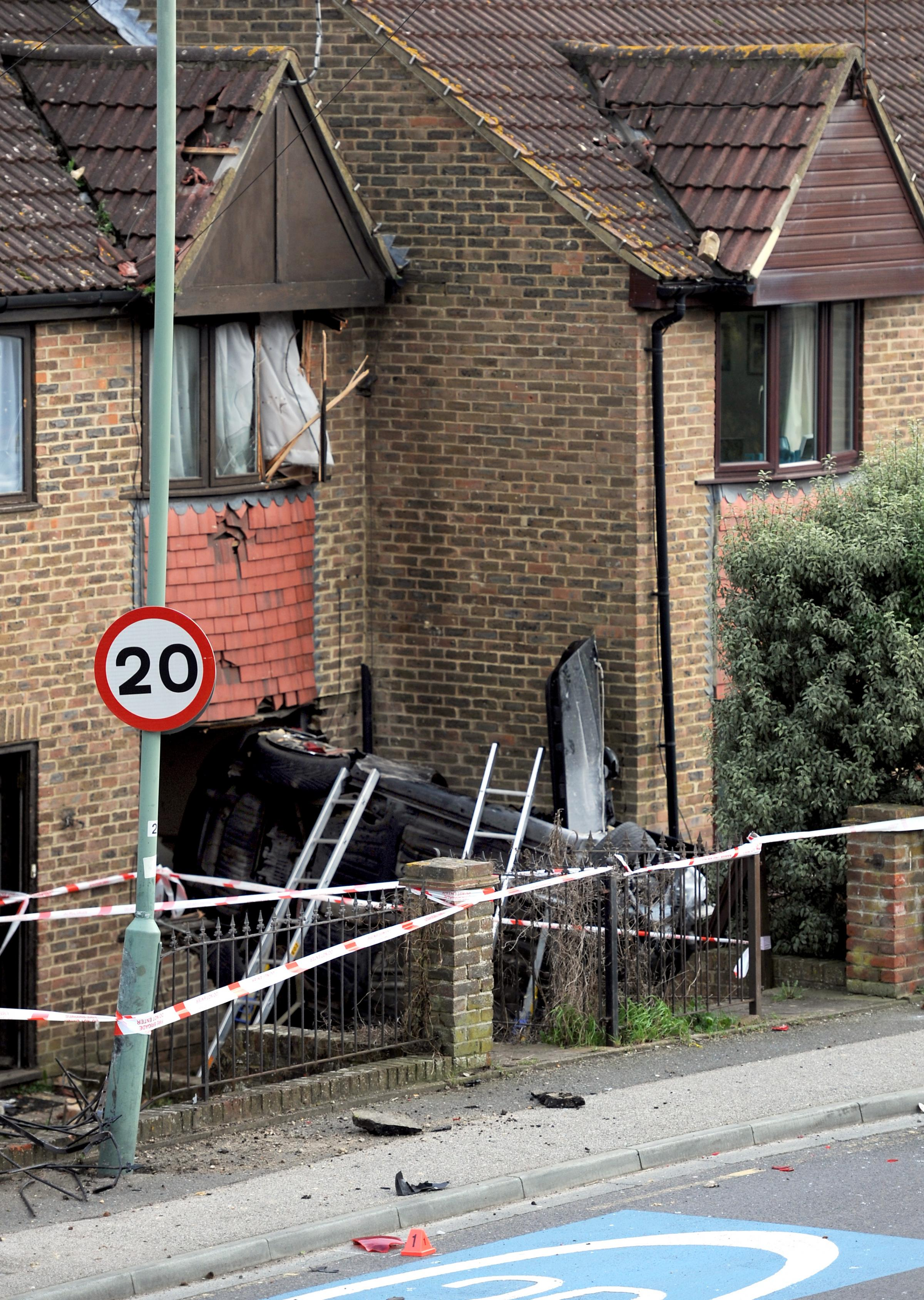 A stolen car crashed into a house in Valley Road, Portslade
