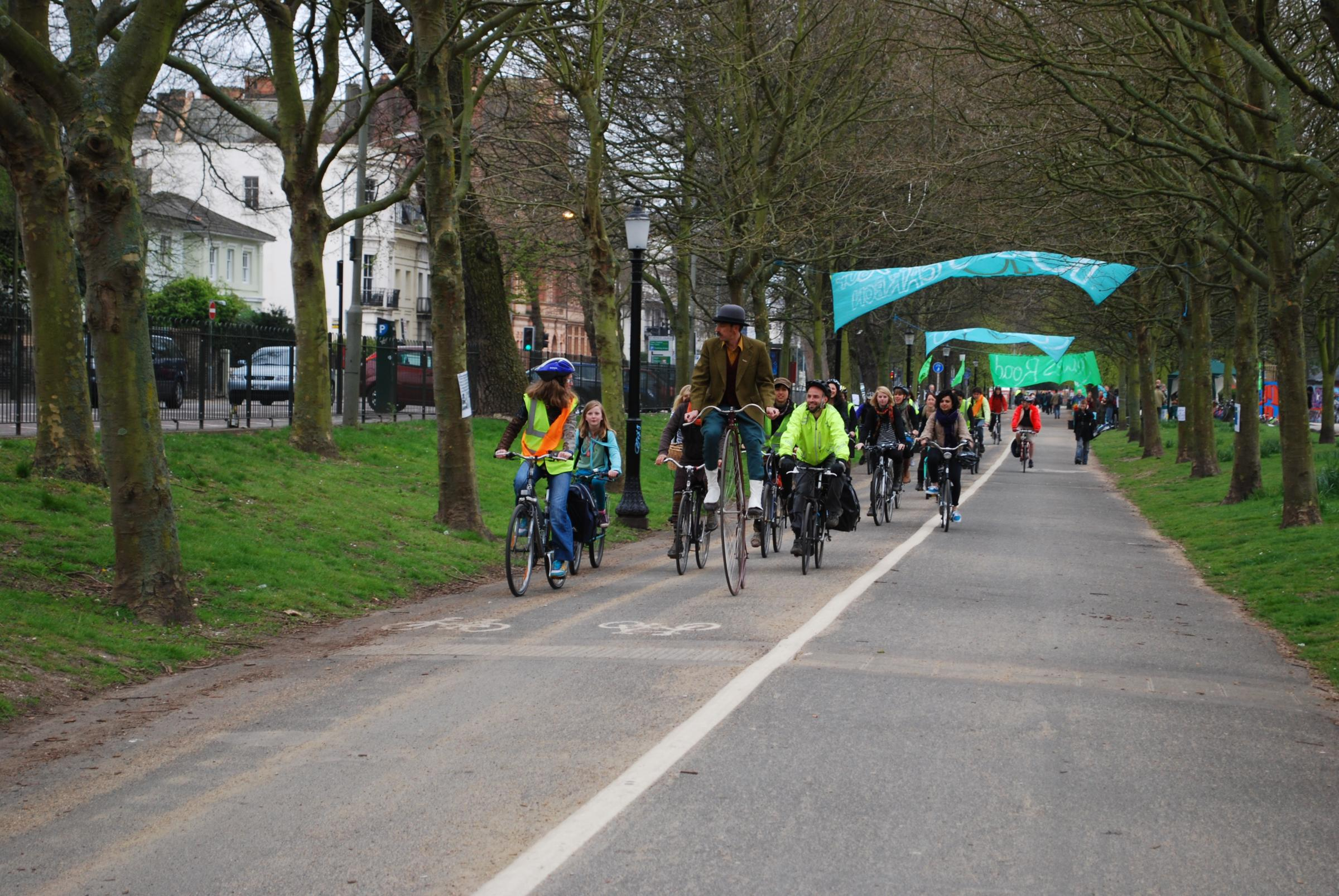 The Lewes Road Bike Train, launched in 2010, is one scheme encouraging Brighton people to cycle to work