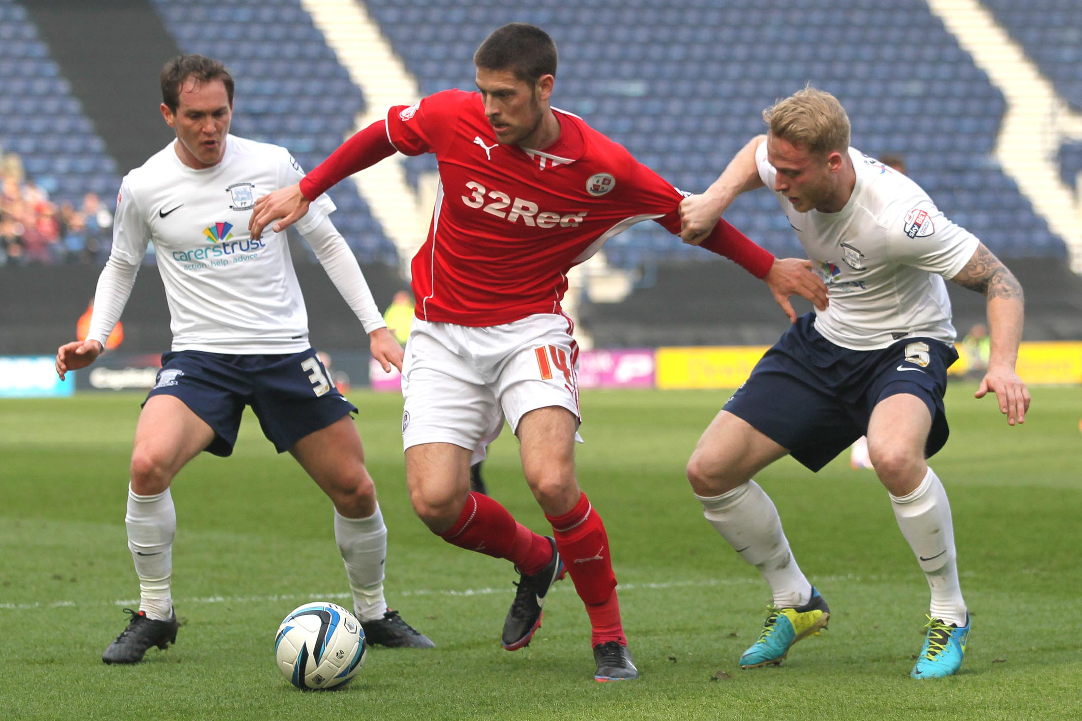 Jamie Proctor in action at Preston today. Picture by Richard Parkes